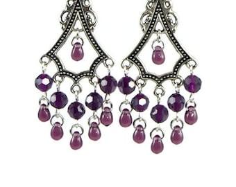 Purple Teardrop Chandelier Earrings, Posts, Hooks, Clip ons or Lever back