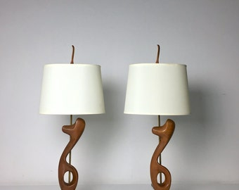 Vintage Pair Mid Century Modern Sculptural Walnut Brass Table Lamps