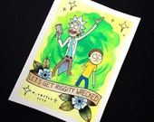 Rick and Morty Tattoo Flash Print by Michelle Coffee