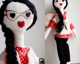 Summer Sale/ Rag doll/ 16 inches/ Black hair/with glasses/Elsie/ Handmade OOAK /Coth doll / handmade in France