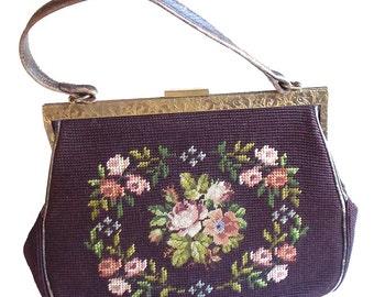 Burgundy Needlepoint Purse, Vintage Handbag, Petit Point Bag, Plum Needlepoint Bag, 1940s Handbag