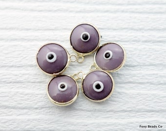 Evil Eye Charm, Glass, Light Purple Evil Eye Gold Pendant, 5 Pieces  Luster, 24K Gold Plated Charm  - EE058