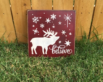FREE SHIPPING! Believe Sign - Christmas Sign - Holiday Sign - Primitive Sign