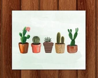 Watercolor cacti printable wall art, Instant Download