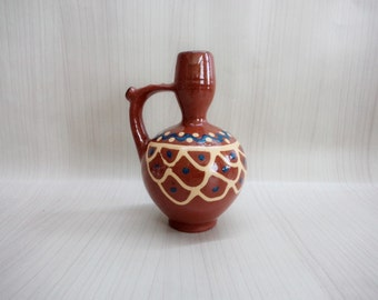 Vintage Traditional Bulgarian Pitcher Whistle, Bulgarian Pottery, Small clay Jug, Brown Clay Jug, Vintage Home Decor, Handmade, Hand painted