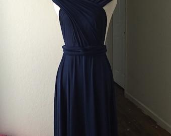 Navy Bridesmaid Dress , Infinity Dress,Knee Length Wrap Convertible Dress.Party dress-A12#