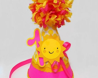 Sunshine Yellow Polka Dot 1st Birthday Paper Party Hat Hot Pink with Pom Pom