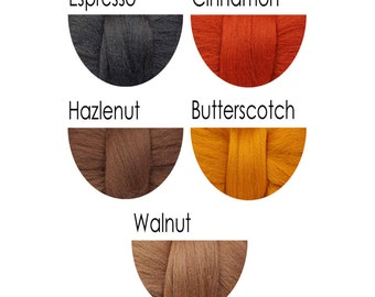 Merino Wool Fibre Tops - browns, amber, rust - 36 colours for felting and spinning