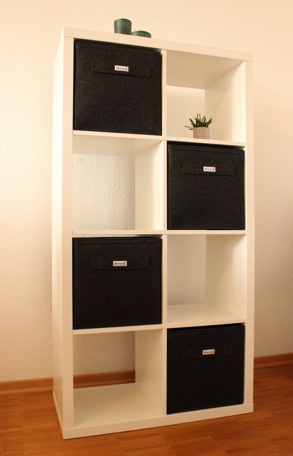 dark grey felt boxes fit into ikea expedit and kallax felt. Black Bedroom Furniture Sets. Home Design Ideas
