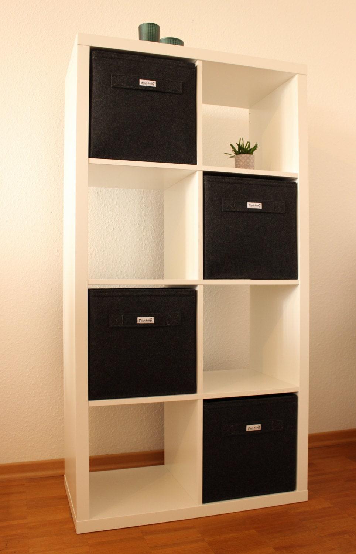 dark grey felt boxes fit into ikea expedit and kallax felt. Black Bedroom Furniture Sets. Home Design Ideas