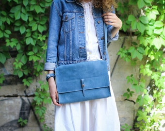 Men's clutch, leather clutch, clutch for men, handmade clutch, leather clutch purse, clutch bag, clutch with strap, A4, Indigo