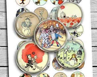 "Wizard of Oz Round images 1.5""  1"" Classic Illustrations for Bottle caps Printable Digital Collage Sheet"