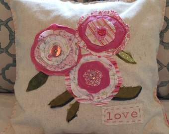 Flower Pillow - 14x14 Handmade by Renee Brennan, Love, Flowers, Mother's Day,  Sweetheart, Upcycled,