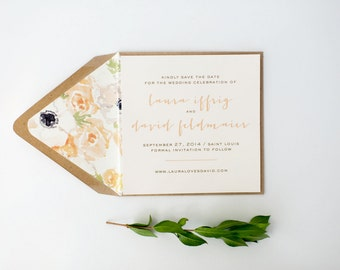 laura save the date invitation  //  printable or printed / rustic watercolor floral peach blush gold custom romantic calligraphy invite