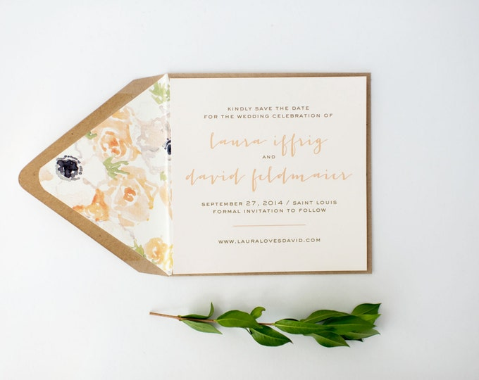 laura save the date invitation  (sets of 10)  //  simple rustic watercolor floral peach blush gold custom romantic calligraphy invite