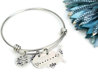 Long Distance Relationship Bracelet Custom Miles Bracelet | Hand Stamped Jewelry | Expandable Bangle | Charm Bracelet | Gift For Her