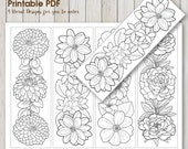 Instant Download Bookmark Coloring with pretty flower design, printable PDF bookmarks adult coloring florals and leaves