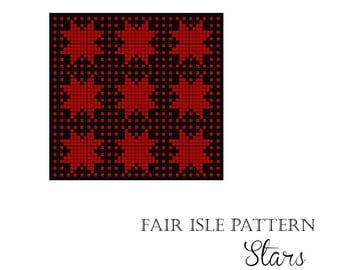"Fair Isle knitting pattern chart ""Stars"""