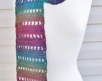 Crocheted Super Soft, Rainbow Color Scarf, Light Weight Scarf, Fall Scarf, Spring Scarf