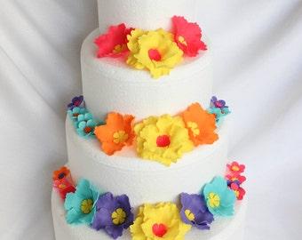 hawaiian cake topper 51 pieces Luau wedding cake flowers luau cake flowers hibiscus fondant flowers tropical edible flowers InscribingLives