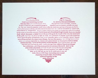 What is love? Hand-printed typographic heart