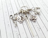 Crochet Stitch Markers - Progress Keeper Charms - Sewing Charms on Lobster Clasp - Removable Row Counters - Stitch Counters for Crochet