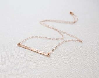 Rose Gold Bar Necklace, Skinny Bar Necklace, Rose Gold Necklace, All Rose Gold Filled