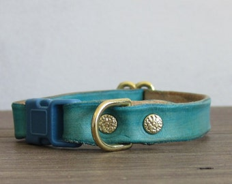 Adjustable Turquoise Leather Cat Collar - Safety Breakaway Leather Cat Collar - Brass
