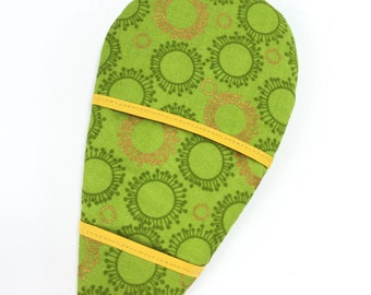 Finger pot holder with magnet, green and gold