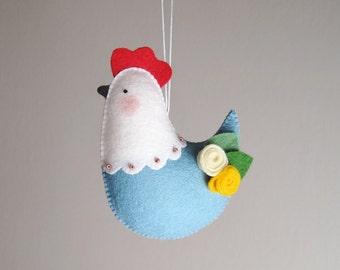 Felt hen, Felt Easter ornament, blue hen, 100% wool felt ornament, spring decorations, felt bird, hen ornament