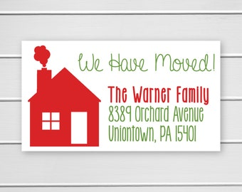 We Have Moved Stickers for Christmas Cards, Holiday We've Moved Address Labels, Return Address Stickers (#304L-H)