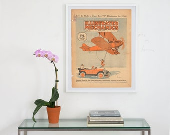 illustrated mechanics magazine archival art print, illustrated mechanics cover art , archival digital print, vintage magazine cover art