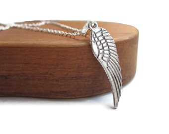 Silver angel wing necklace, silver necklace, Angel wing charm, jewellery uk, simple necklace