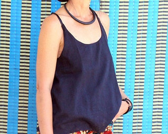 Women tank top in cotton voile and satin black, black top, black tank top