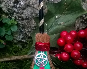 Yule Winter Solstice Pentagram Besom Altar Broom Mini Broomstick - Witch - Witchcraft - Magick - Pagan - Wiccan - Altar