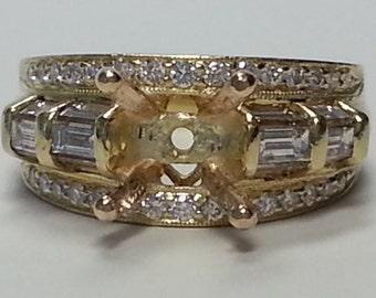 Simon G, BLOWOUT 18-K Gold and Diamond Semi Mount, BEAUTIFUL as can be
