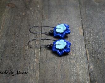 Boho Carved Blue Jade Flower Earrings, Hand Carved Jade Flowers in Dark Blue and Teal, Gypsy, Bohemian Rustic Earrings, Handmade, Floral