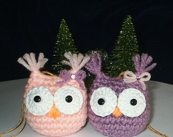 BABY OWL TWINS - Hand Crochet Ornaments - Set of 2 - Light Pink & Orchid - Holiday, Christmas, Tree
