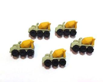 Cement Trucks Buttons Jesse James Buttons Boyz Toyz Dress It Up Buttons Set of 5 Shank Back - 50