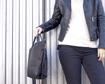 Leather tote bag, black tote bag, leather shopper bag, leather handbag, black leather bag, black tote bag, handmade leather bag, large bag