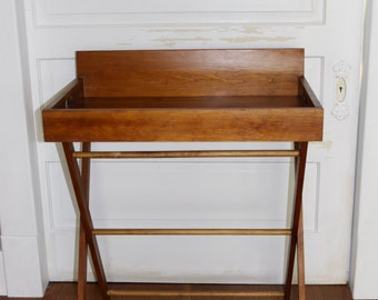 Wood Butlers Tray Table Folding Vintage Bar