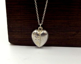 Vintage Silver Puffy Heart Pendant On A Chain
