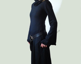 Long black dress medieval, fantasy, 70s