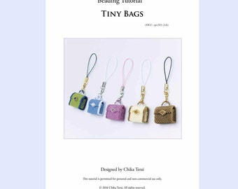 PDF Beading tutorial, beaded bag pattern, bag charm, key chain, pendant necklace, bead weaving tutorial, instructions, present, ept203-2