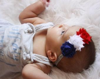 4th of July Baby Headband, Baby Headband, Baby Fourth of July, Headband Baby, Baby Girl Headband, Newborn Headband, Patriotic Headband