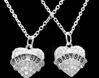 Sisters Big Sis Baby Sis Crystal Heart Sister Gift Charm Necklace Set