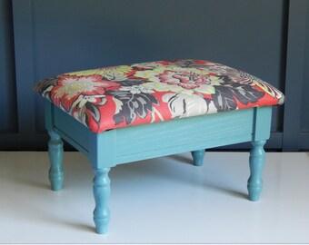 Vintage Footstool/Refinished Furniture/Red Floral Fabric/Teal Paint/Wooden Footstool/Hidden Storage/Hinged Lid/Vintage Upholstered Ottoman