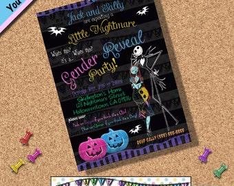 Nightmare before Christmas GENDER REVEAL INVITATIONS baby shower   Invites Halloween Horror Movies