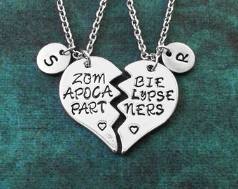 Zombie Apocalypse Partners Necklace Zombie Necklace Zombie Jewelry Zombie Pendant Zombie Charm Best Friends Necklaces Broken Heart Friend