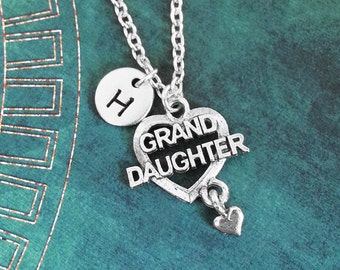 Granddaughter Necklace SMALL Grand Daughter Necklace Granddaughter Charm Necklace Heart Necklace Granddaughter Jewelry Grand-Daughter Gift